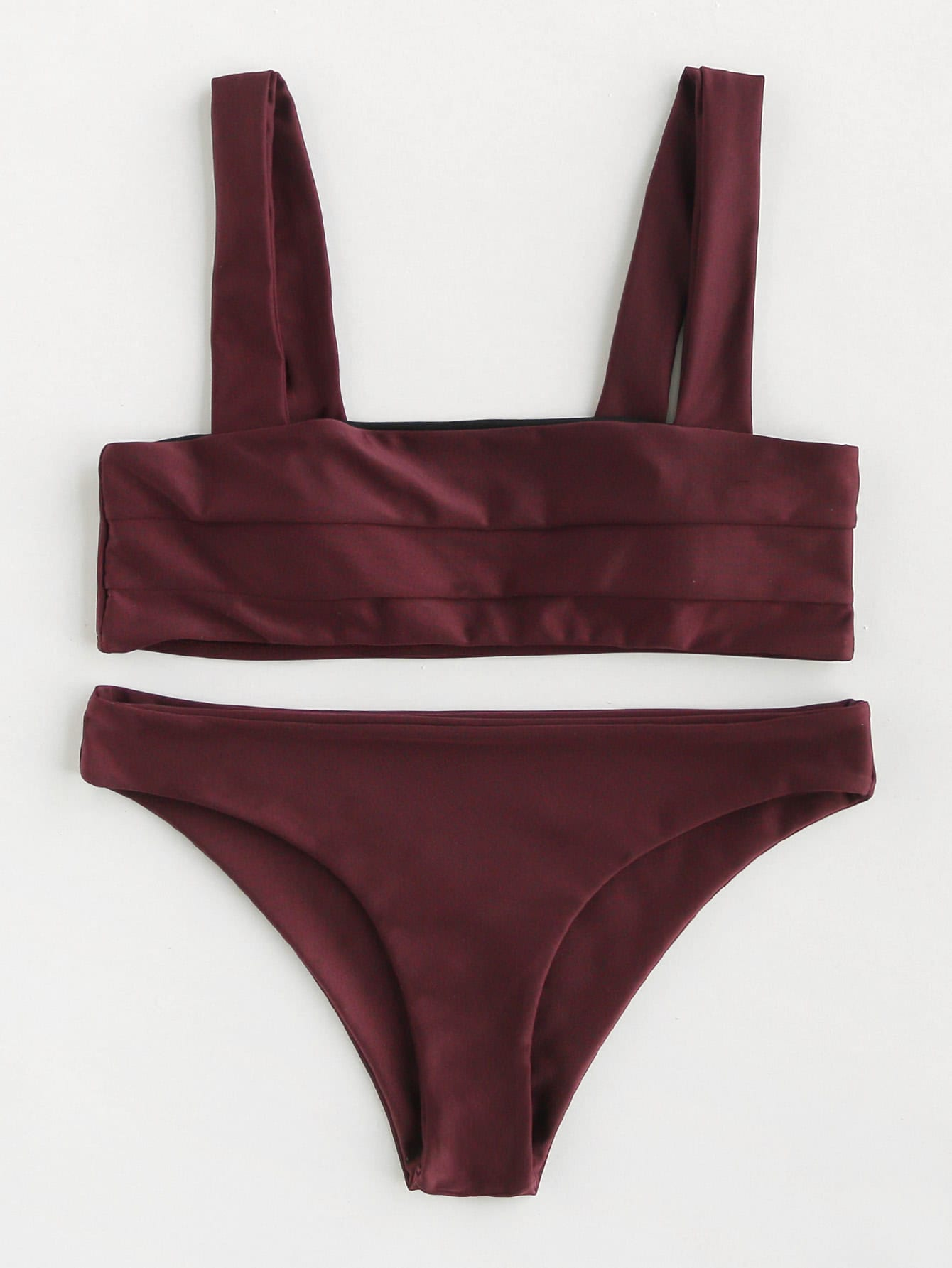 Double Wide Strap Seam Detail Bikini Set