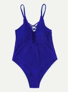 Criss Cross Plunge Neckline Swimsuit