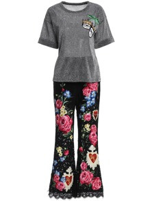 Applique Pouf Top With Lace Pants