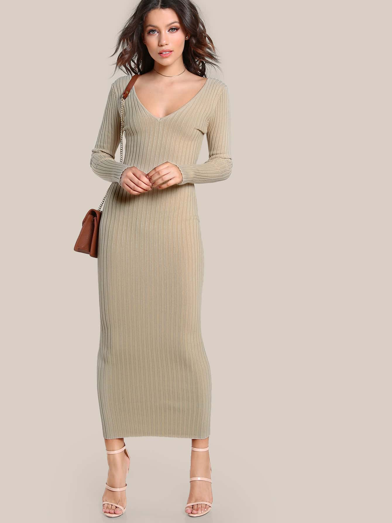 Ribbed Bodycon Maxi Dress NUDE