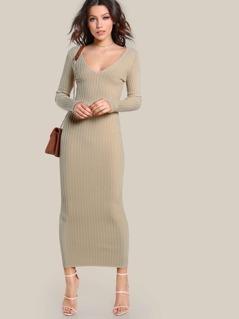 Ribbed Bodycon Maxi Dress NUDE