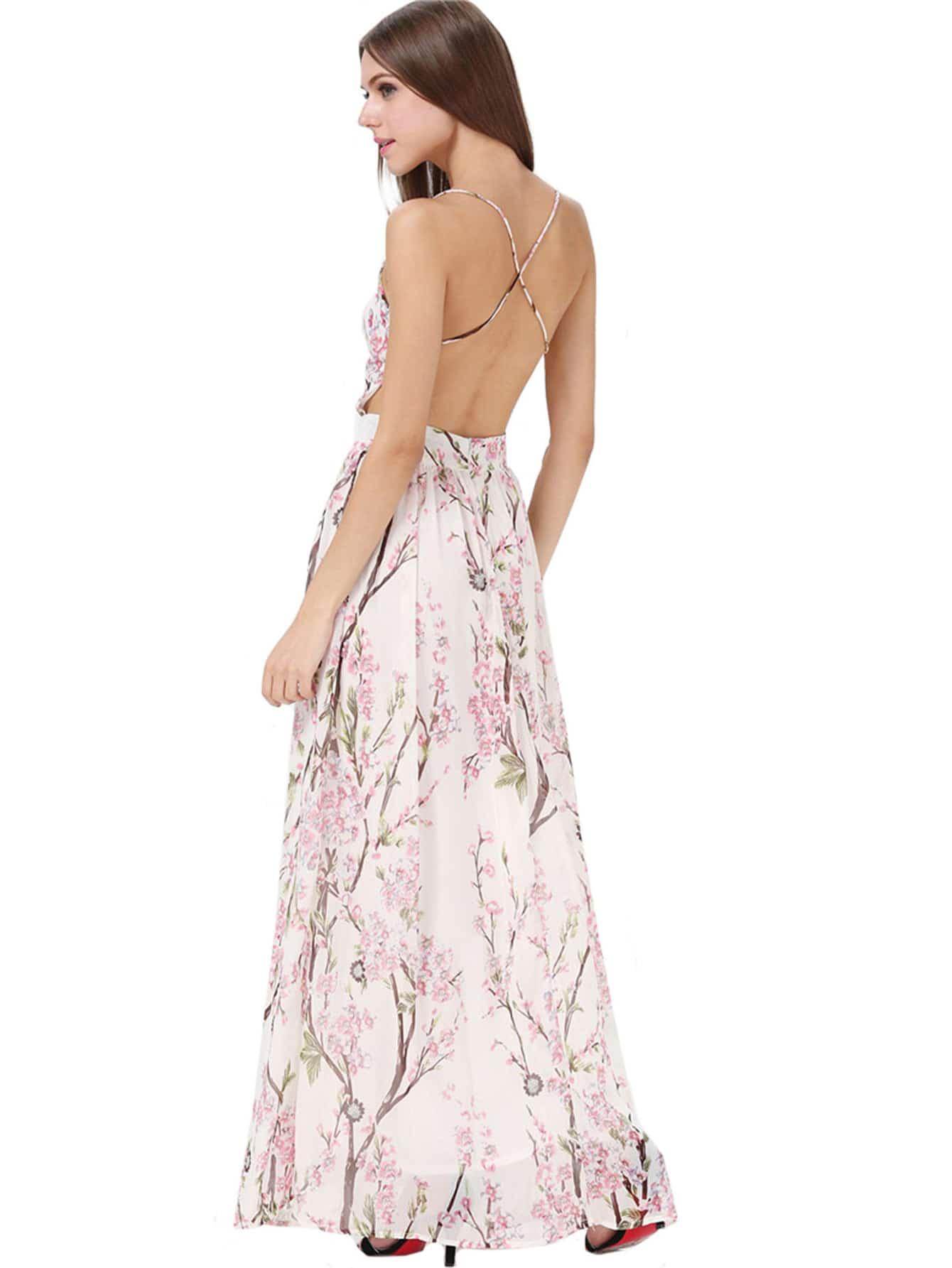Hibiscus Florals V-neck Spaghetti Straps Backless Maxi Dress -SheIn(Sheinside)
