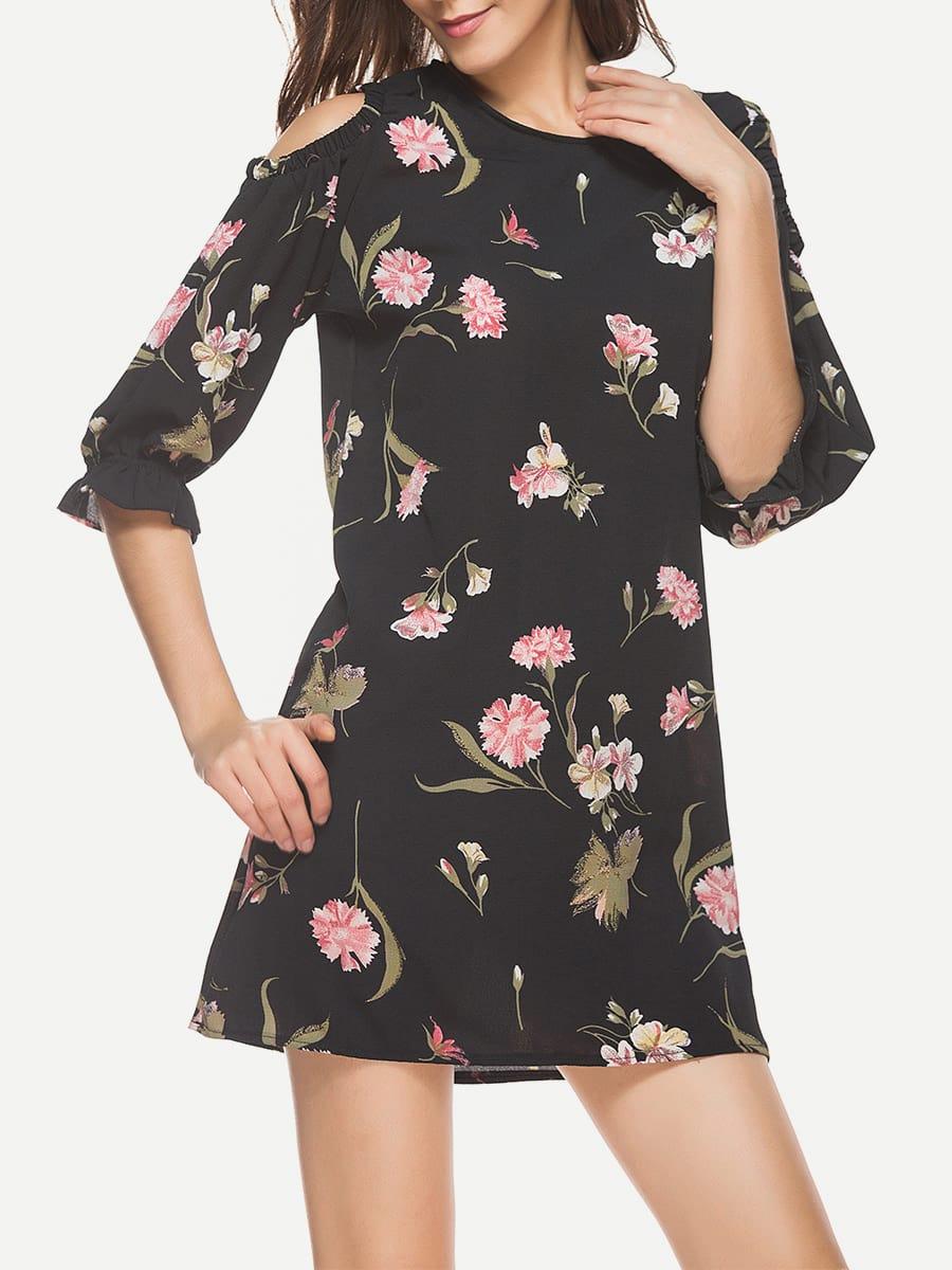 Фото Open Shoulder Frill Cuff Florals Dress. Купить с доставкой