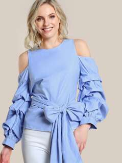 Cold Shoulder Puffed Sleeve Shirt LIGHT BLUE
