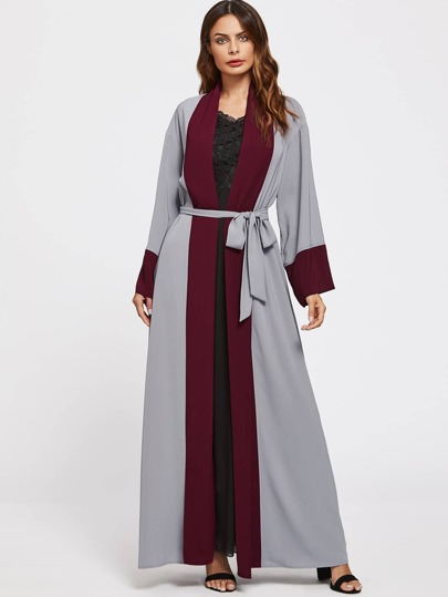 Self Tie Contrast Trim Abaya