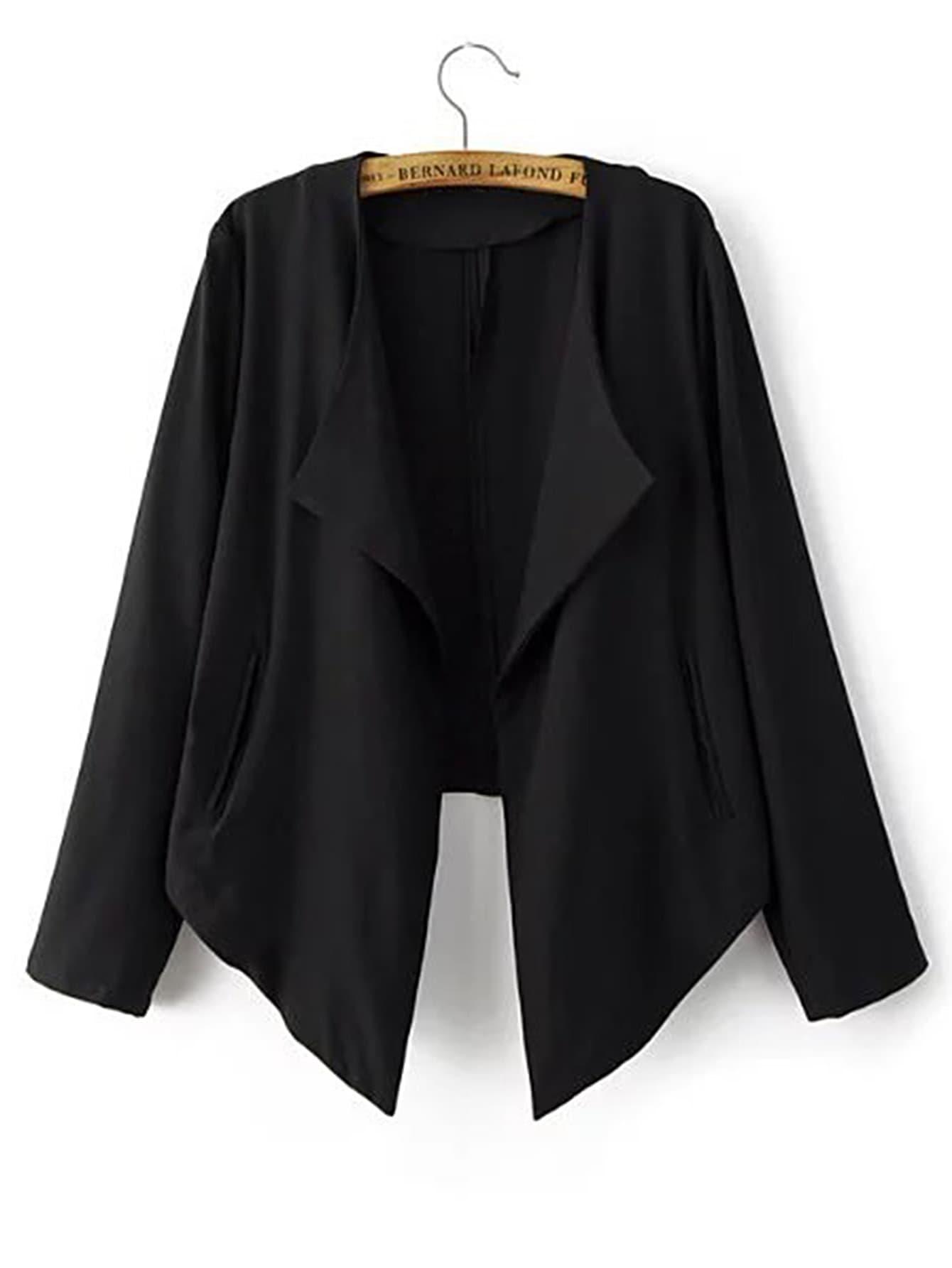 Open Front Asymmetrical Hem Blazer frilled bell sleeve and hem open front blazer