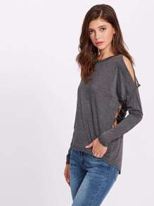 Heather Knit Cutout Strappy Tee