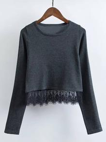 Pullover mit Spitze Saum