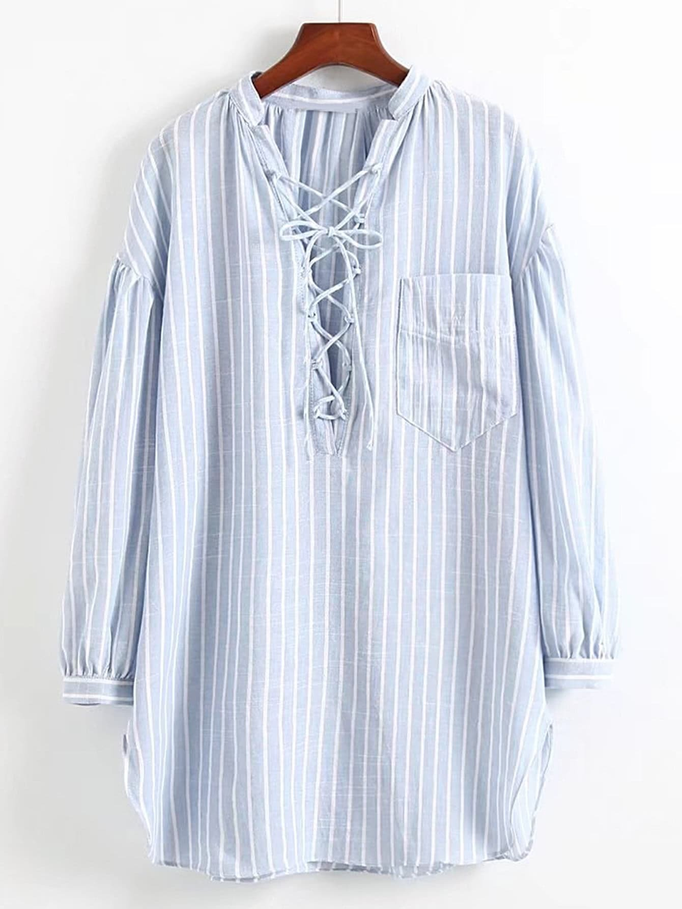 Lace Up V Neck Vertical Striped Shirt Dress dress170713207