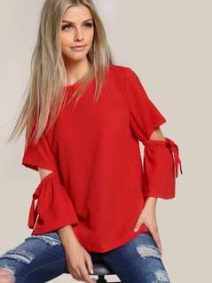 Split Sleeve Solid Shirt RED