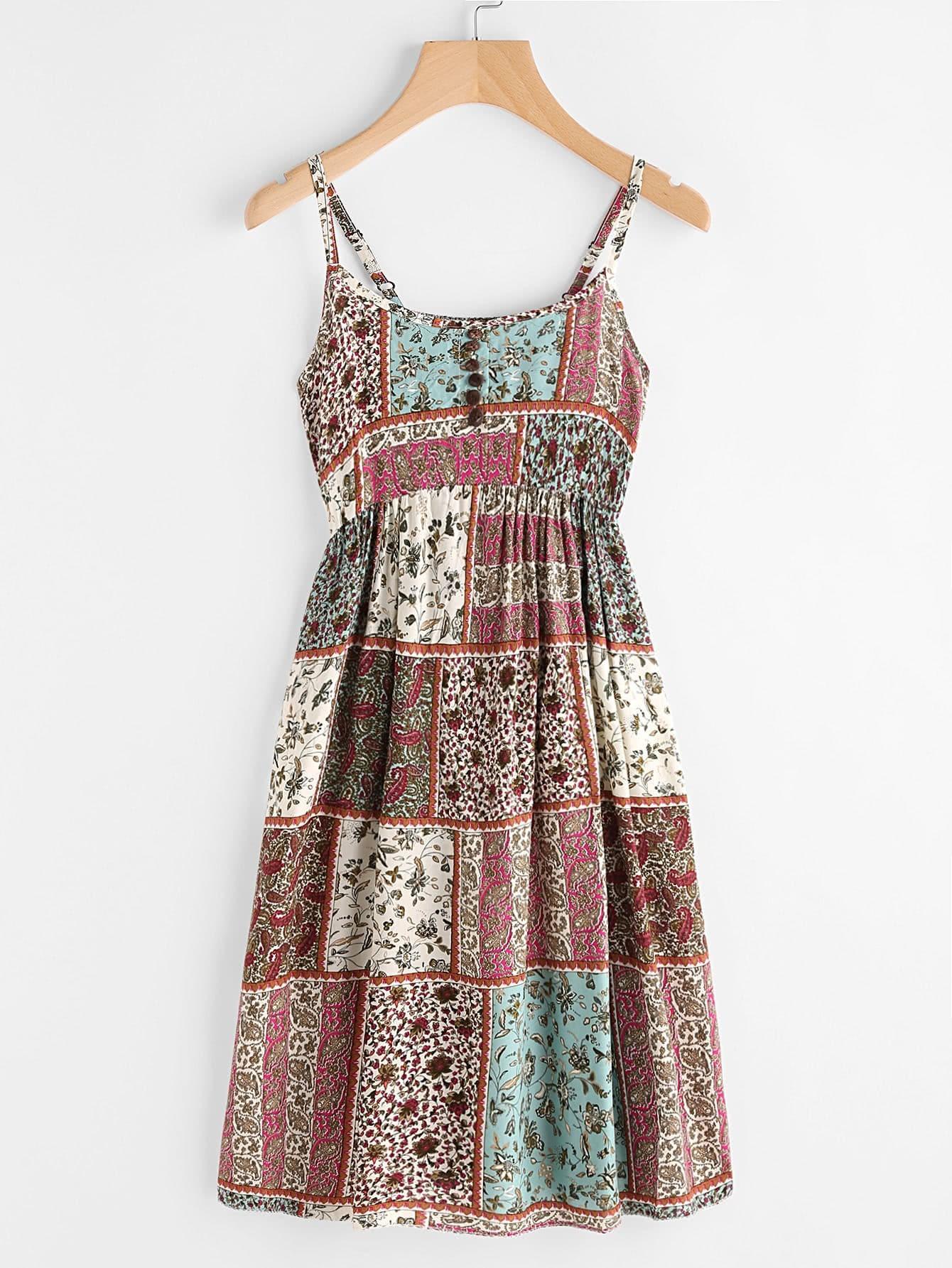 Allover Aztec Print Button Front Cami Dress