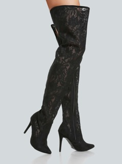 Lace Point Toe Thigh High Pump BLACK