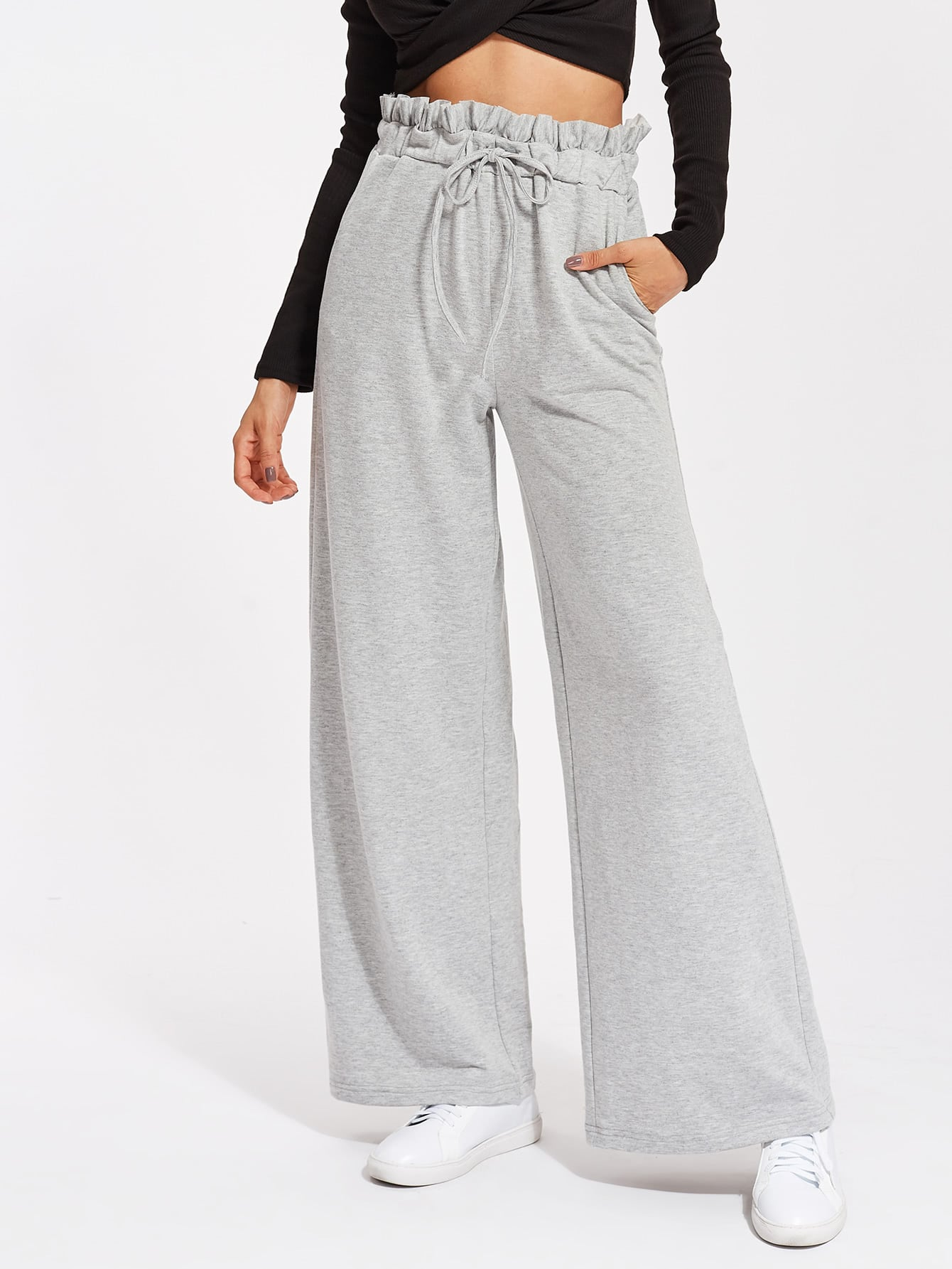 Frill Waist Heather Knit Palazzo Sweatpants pants170726701