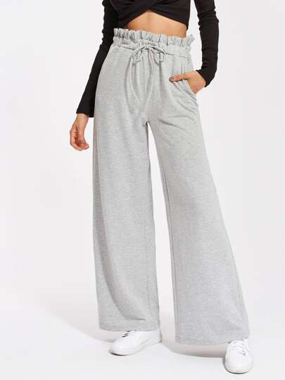 Frill Waist Heather Knit Palazzo Sweatpants