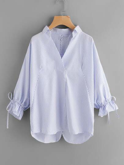 Striped Drawstring Cuff Blouse