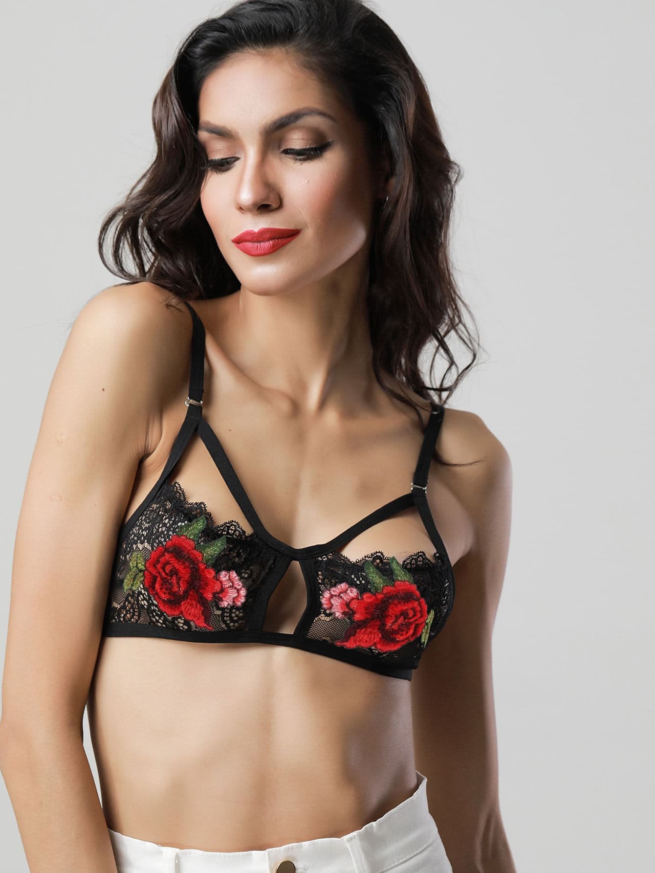 Flower Applique Harness Detail Bralette lingerie170703310