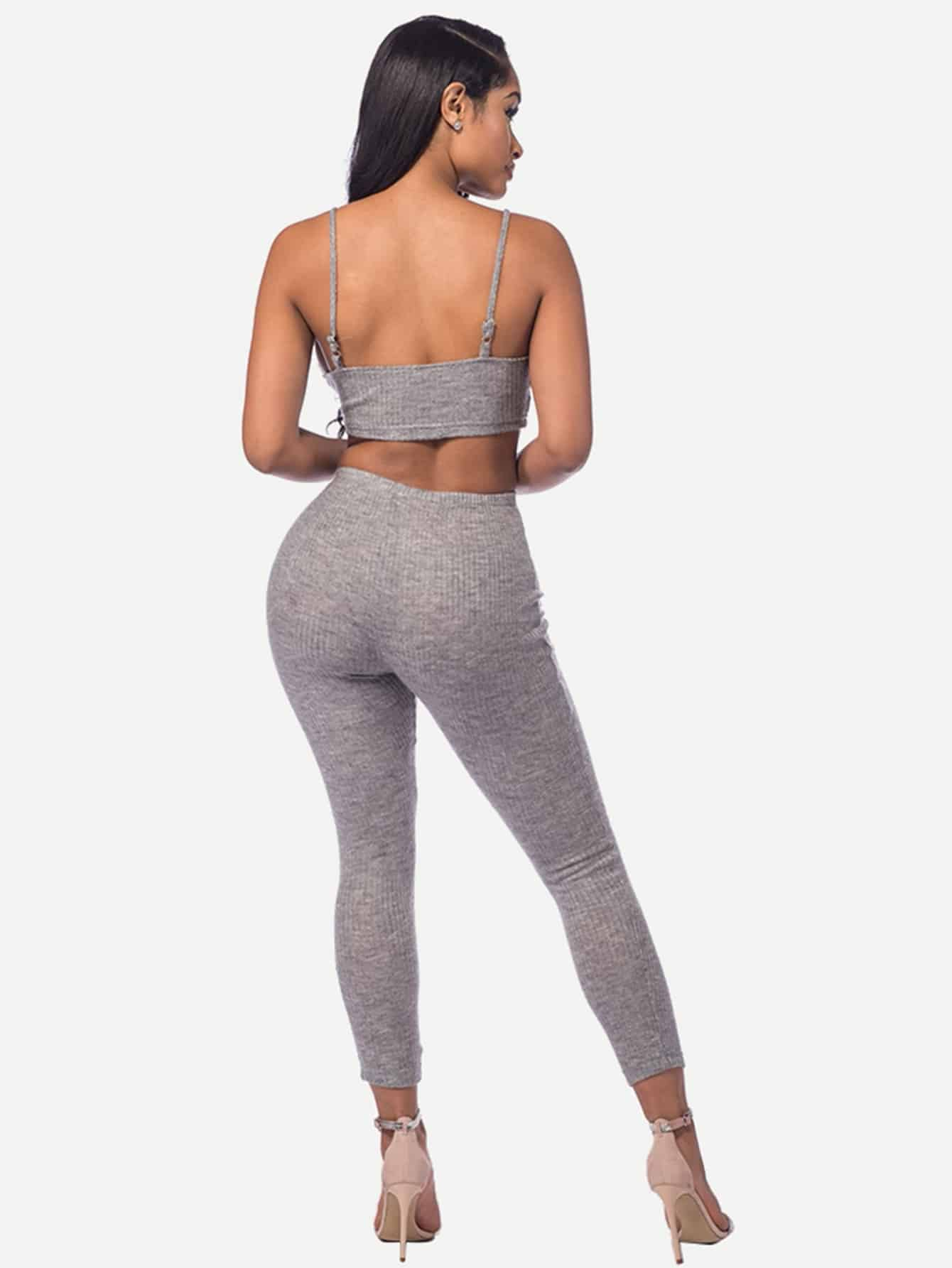 Marled Knit Crop Cami Top With Leggings