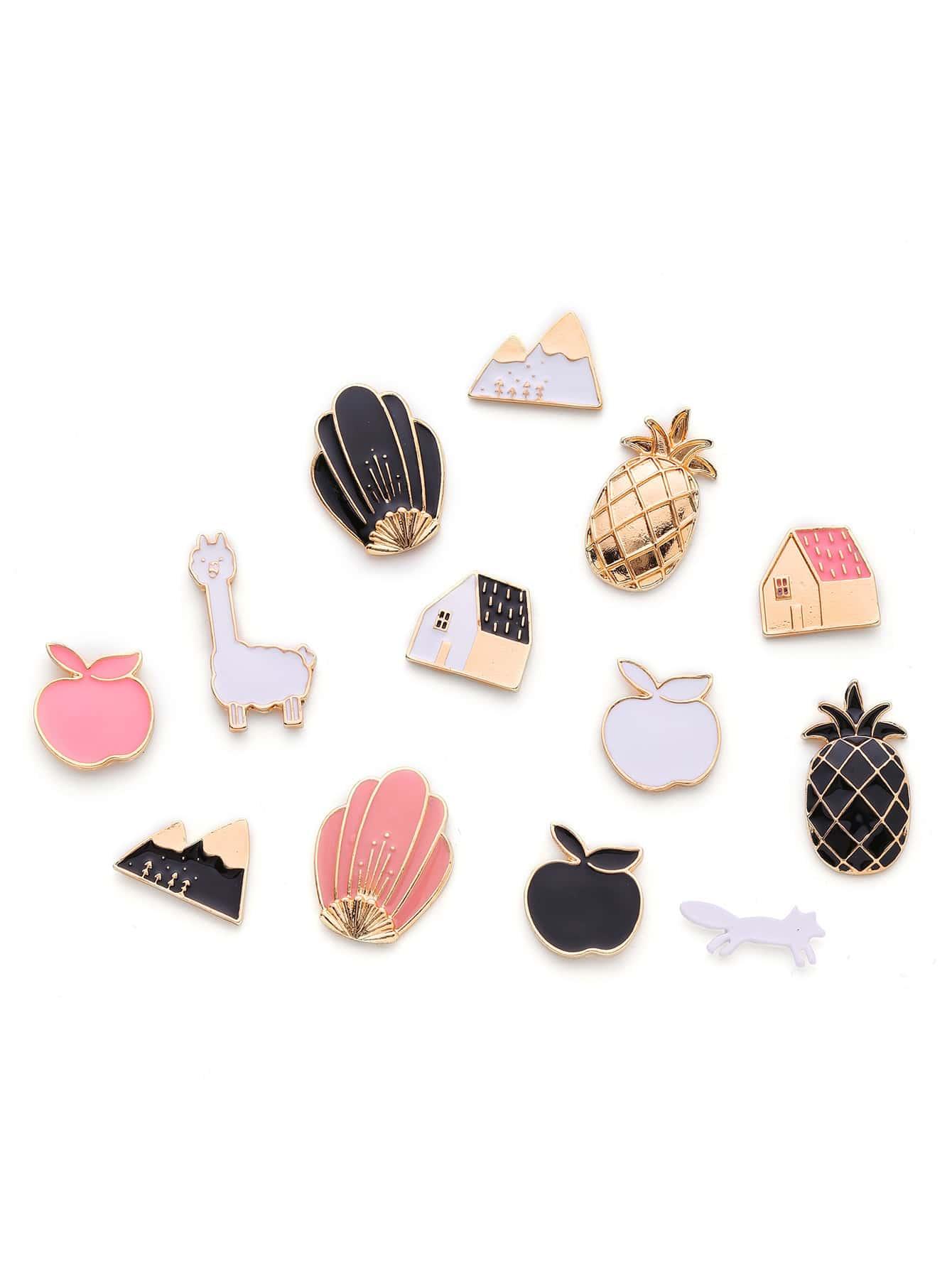 Apple & House Design Brooch Set