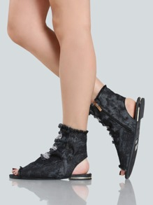 Frayed Denim Shootie Sandals BLACK