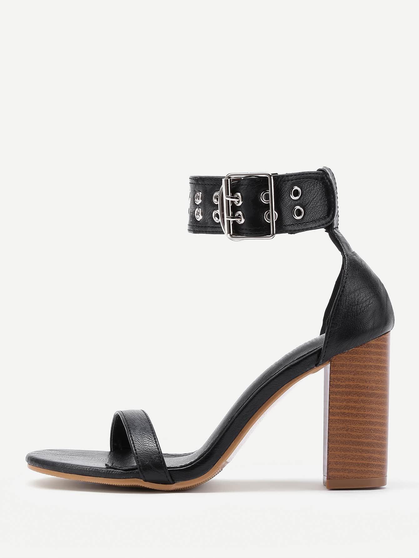 Фото Eyelet Design Cork Heeled PU Sandals. Купить с доставкой