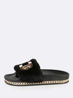 Fuzzy Fur Flatform Slides BLACK