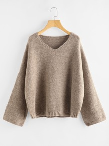 Marled Knit Fluted Sleeve Jumper
