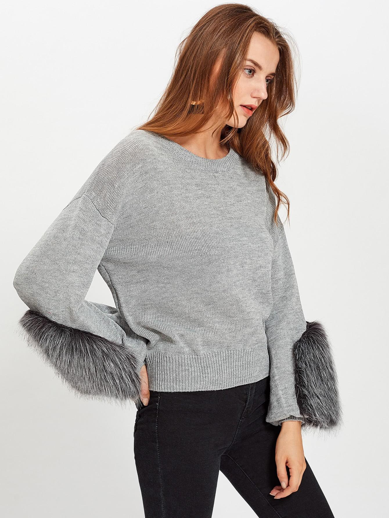 Fur Embellished Bishop Sleeve Jumper drop shoulder bishop sleeve fuzzy jumper