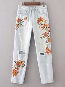 Flower Embroidery Ripped Detail Jeans