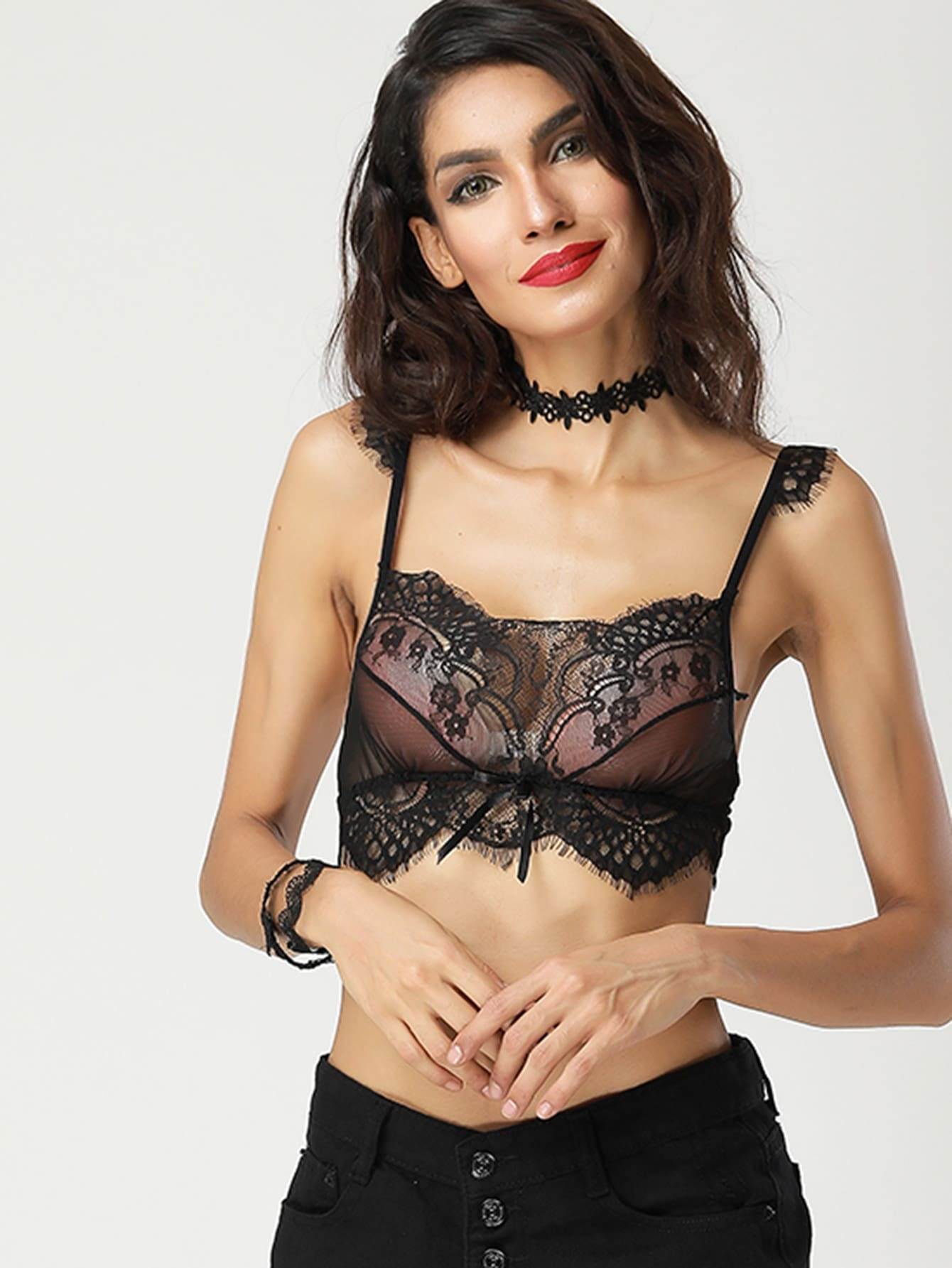 Eyelash Lace Detail Hook Back Bralette lingerie170727347