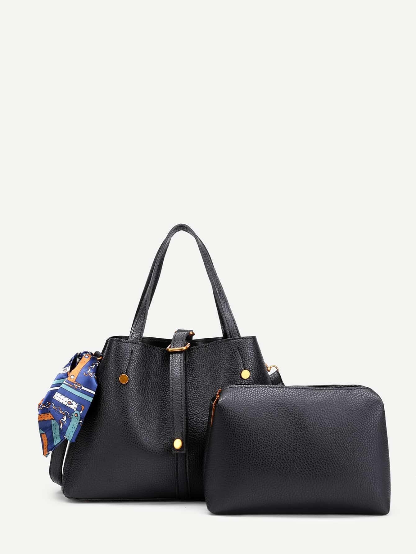 Фото Scarf Decorated PU Shoulder Bag With Clutch Bag. Купить с доставкой