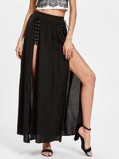 Grommet Lace Up M-Slit Skirt