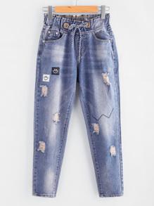 Patch Detail Distressed Denim Pants