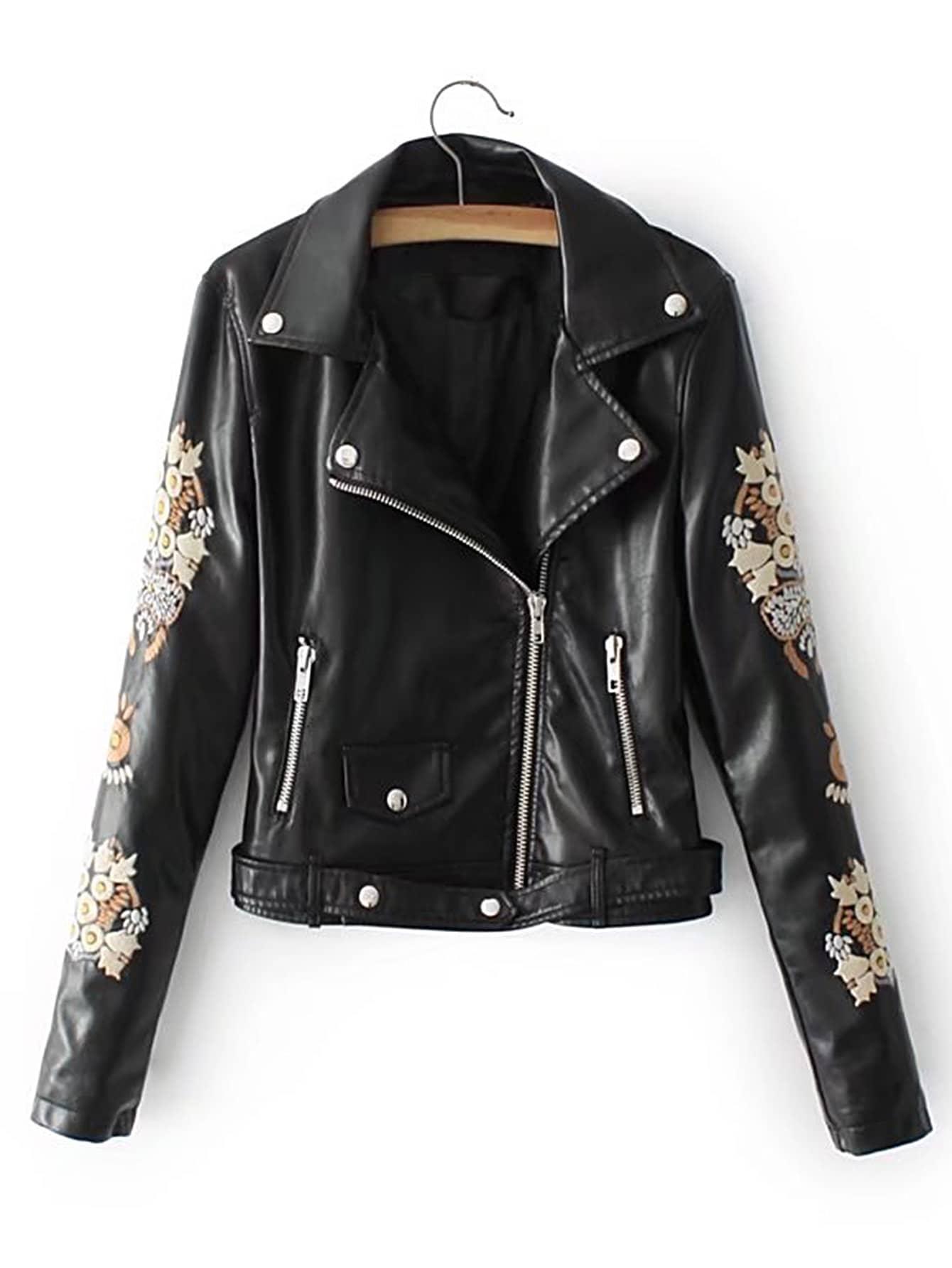 Фото Faux Leather Embroidery Belt Moto Jacket. Купить с доставкой