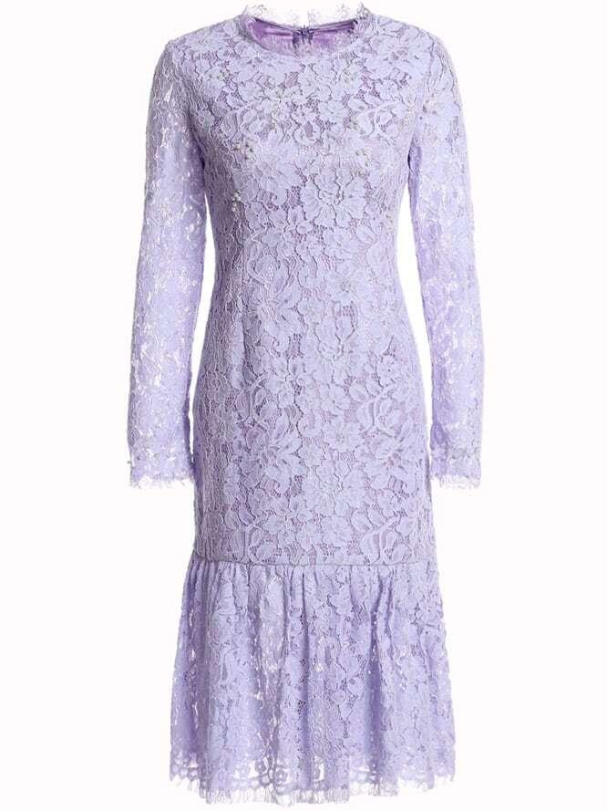 Фото Long Sleeve Lace Fishtail Dress. Купить с доставкой