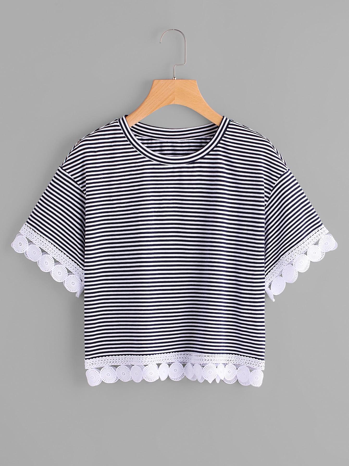 Фото Crochet Trim Striped Tee. Купить с доставкой