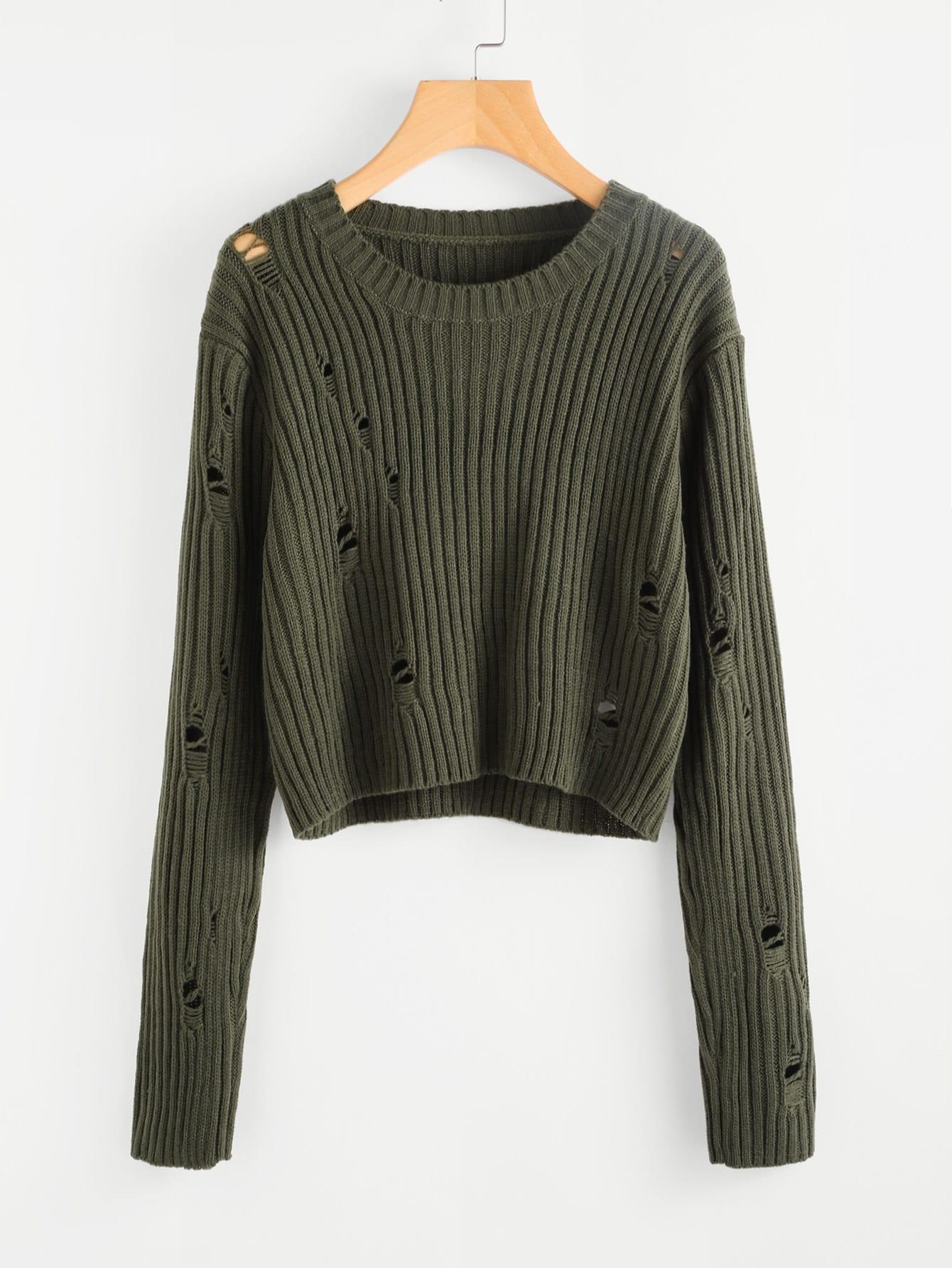 Rib Knit Distressed Jumper pocket front rib knit boxy jumper