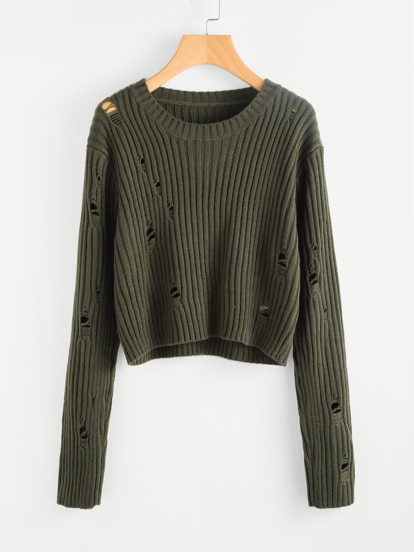 Rib Knit Distressed Jumper sweater170710457