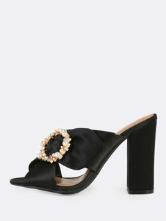 Cross Band Satin Mules BLACK