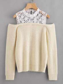 Illusion Floral Lace Neck Jumper