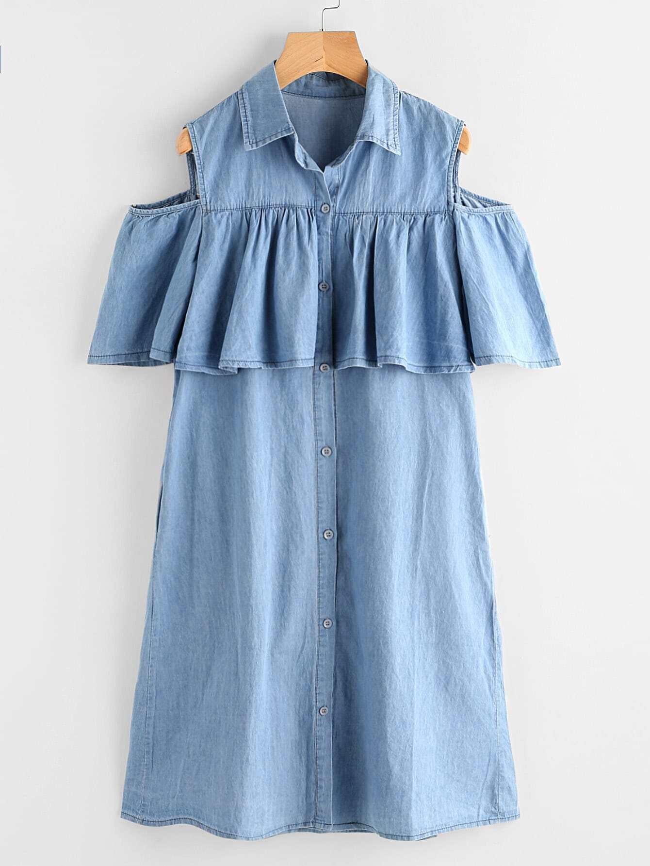 Фото Open Shoulder Frill Chambray Shirt Dress. Купить с доставкой