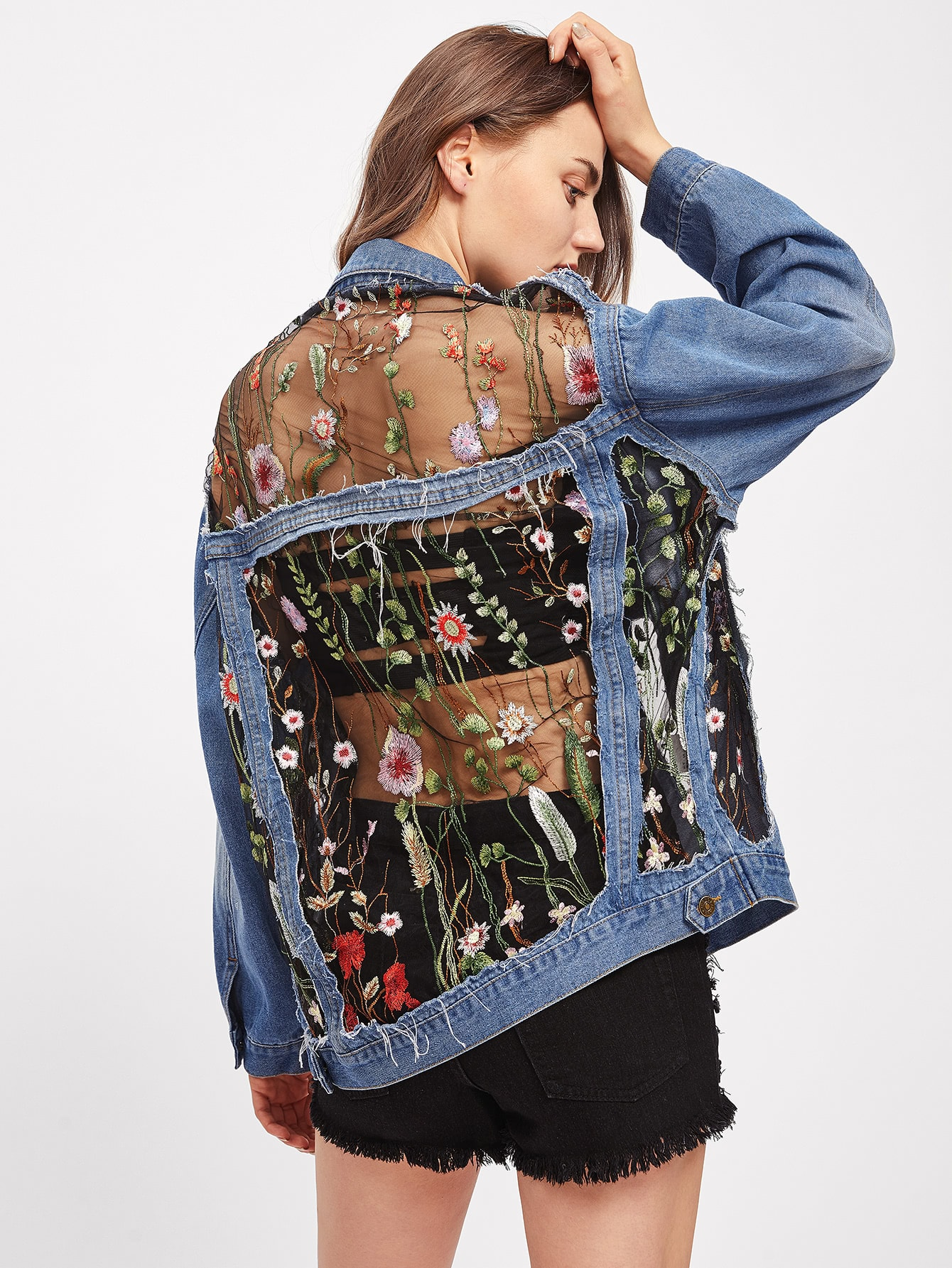 Image of Embroidered Mesh Insert Boyfriend Denim Jacket
