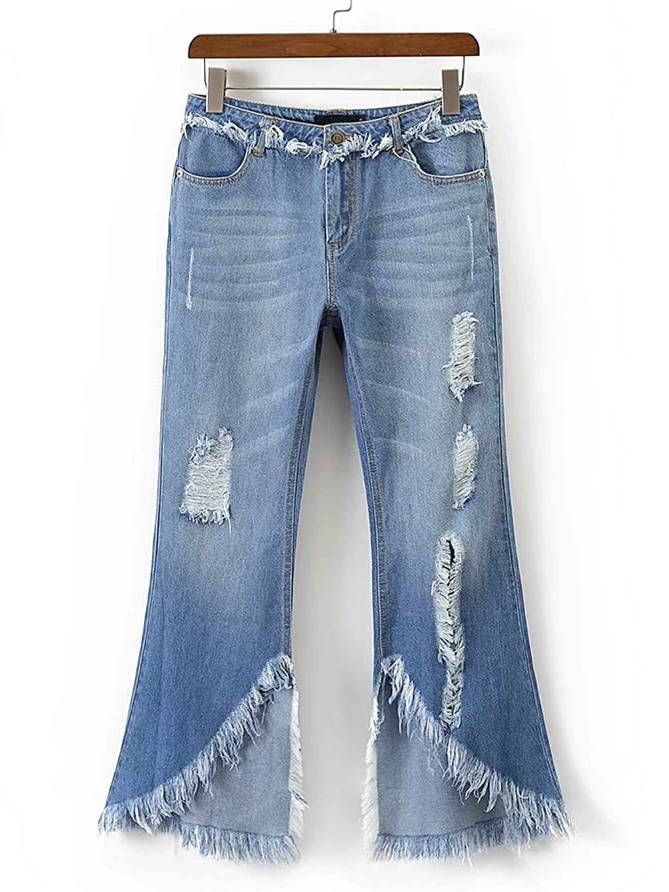 Фото Frayed Trim Ripped Detail Flare Jeans. Купить с доставкой