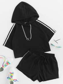 Striped Crop Hoodie And Drawstring Sweat Shorts Set