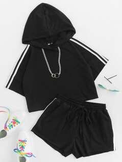 Striped Crop Hoodie And Drawstring Sweat Shorts Set