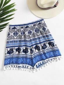 Short con estampado de azteca con bajo con pompones