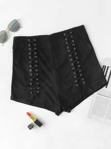Eyelet Criss Cross V Notch Suede Shorts