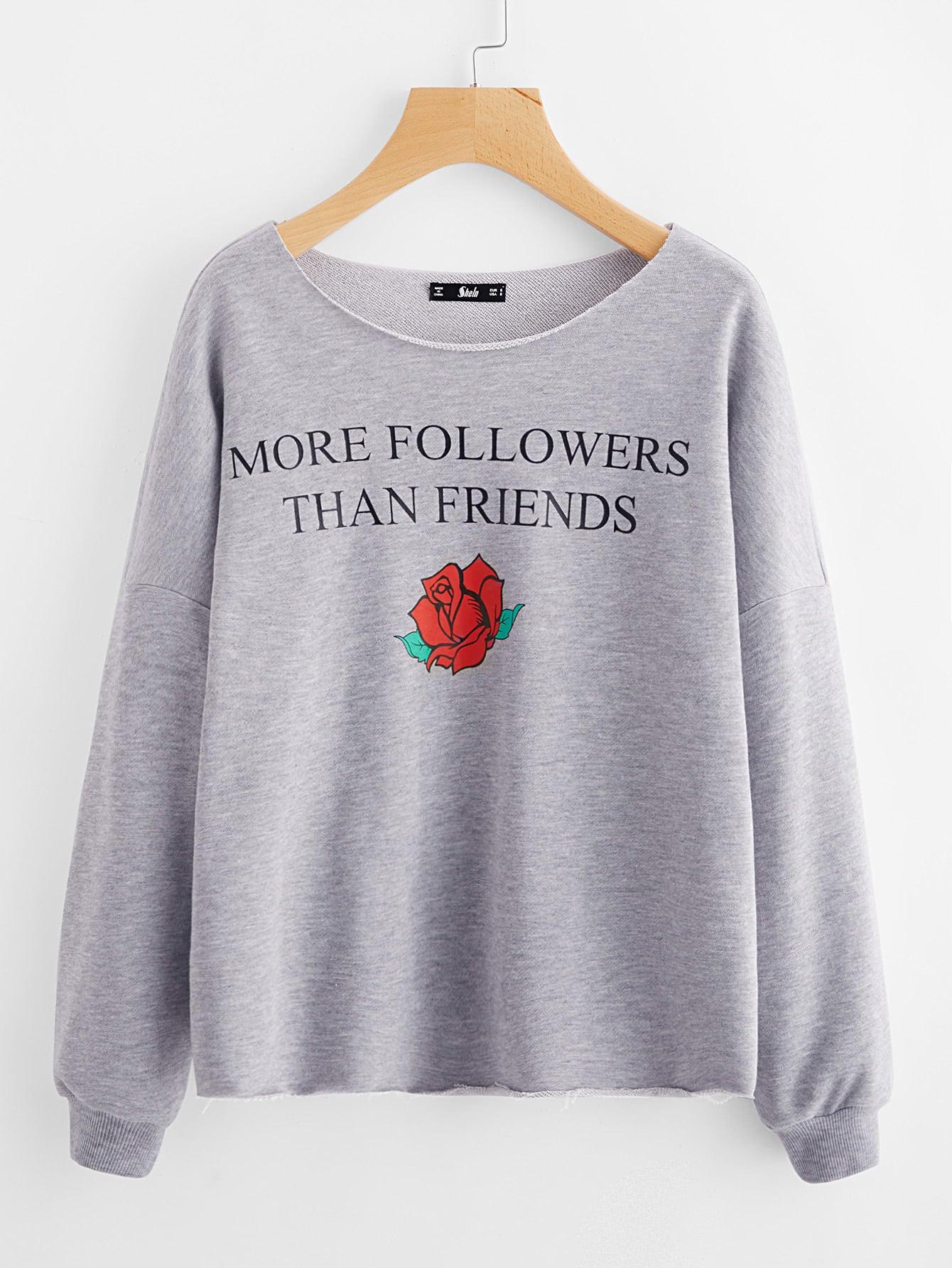 Heather Knit Raw Edge Graphic Sweatshirt raw edge cropped sweatshirt