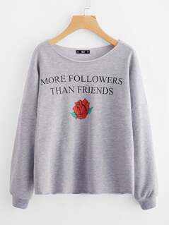 Heather Knit Raw Edge Graphic Sweatshirt