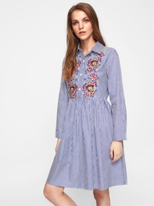 Embroidered Placket Pinstriped Shirt Dress