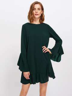 Fluted Sleeve Frilled Hem Dress